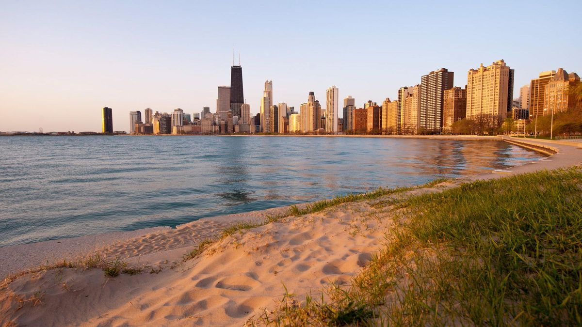 lakefront, skyline, sunrise