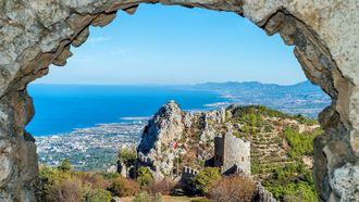Saint, Hilarion, Castle, Cyprus, north, ruins, tourism, attraction, ancient, fortress, tower, fortification, wall, stone, old, restored, interest, travel, sightseeng, Kyrenia, Kirenia, greek, turkish, venetian, Byzantium, Byzantine, empire, arc, park, visit