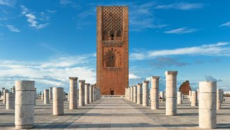 africa, arabic, berber, blue, decoration, decorations, emblem, gold, golden, grandiose, handicraft, handmade, hassan, islam, islamic, morocco, ornaments, rabat, religion, sky, temple, tour, traditional, tower, square, columns, stone, red, ramps, sandstone, historical, tourist, complex, ancient